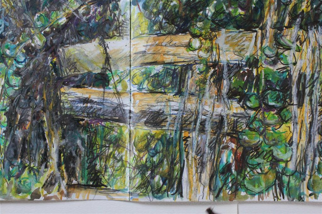 Detail sketch: 'Fence',oil pastel and pencil