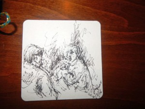 Beermat two friends talk