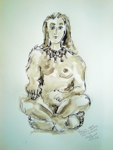 Freyja after Picasso wearing the necklace with ink wash