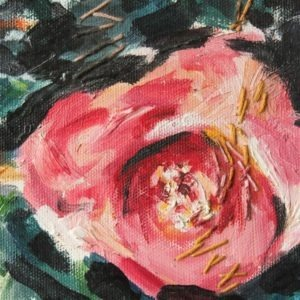 small detail from 'Camelia' painting, oil paint with stiched element