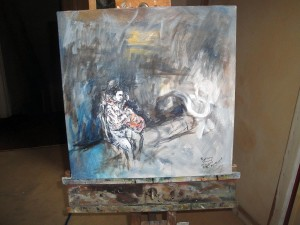 Solitary figure on a wall complete on easel